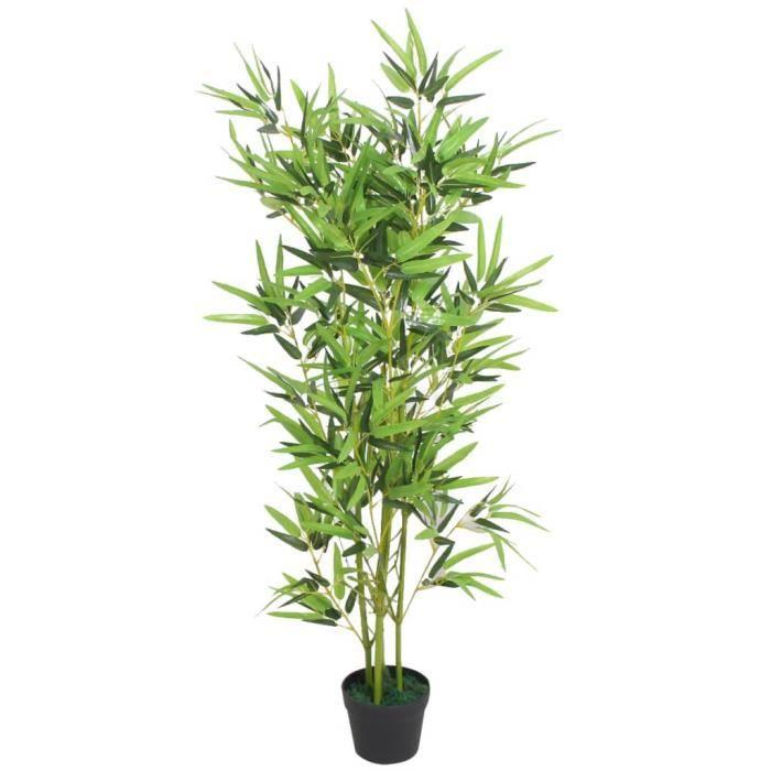 Plante artificielle-Arbre Artificiel Convient pour Intérieur ou Extérieur avec pot Bambou 120 cm Vert☺3182