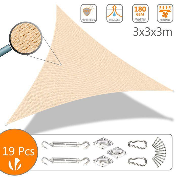 Voile d'ombrage Triangle Ivoire 3x3x3M avec Kit de montage