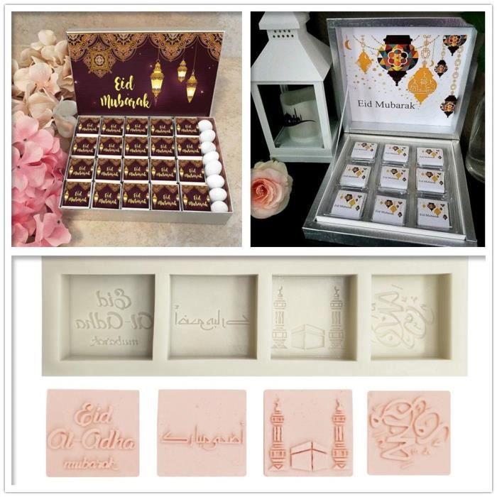 Moule à gateaux,Mubarak moule à chocolat Silicone Eid Moule à gâteaux, outils de Fondant, outils à gâteaux, ustensiles de cuisine,