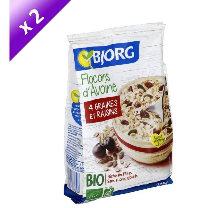 [LOT DE 2] Bjorg Flocons d'Avoine Graines Raisins 375g