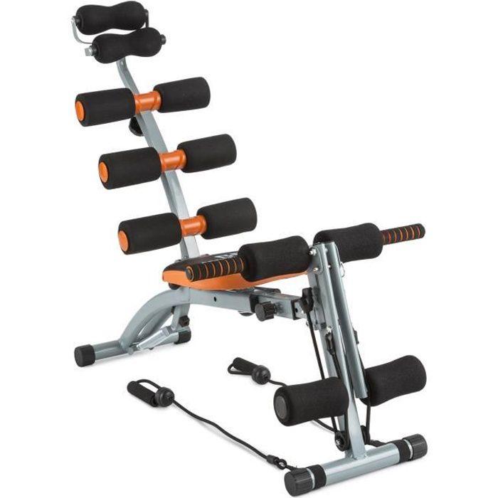 CAPITAL SPORTS Sixish Core - Appareil de musculation pour abdominaux, bras dos et épaules - Acier enduit poudre - Orange / noir