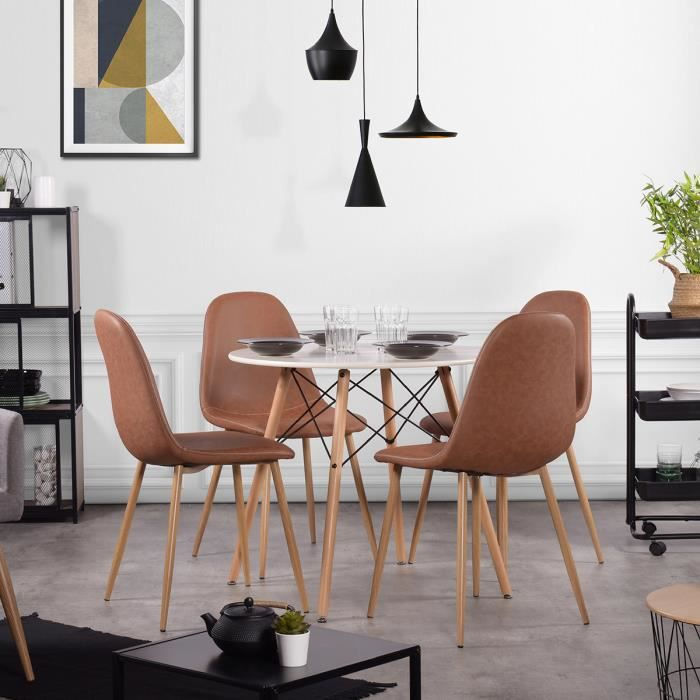 Ensemble table à manger ronde 80 x 80 cm blanc et lot de 4 chaises au style vintage marron