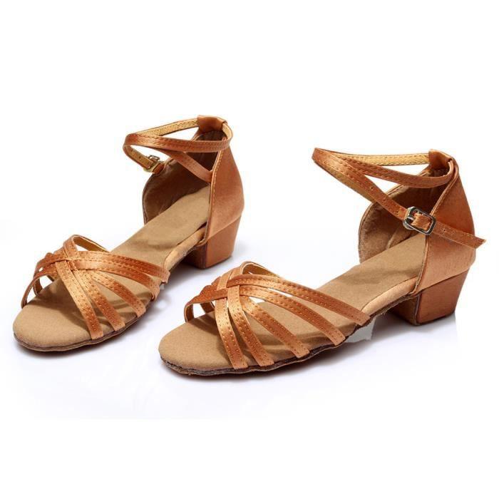 Femmes Mode danse Rumba Waltz Prom Salle de bal Salsa chaussures de danse latine Sandales marron PCD90308094BW marron
