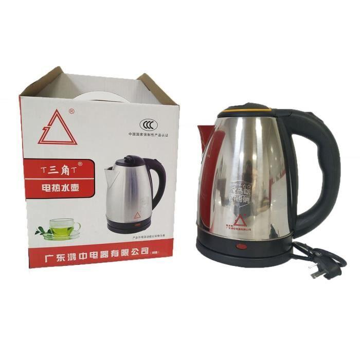 Bouilloire électrique 2L Revêtement en acier inoxydable Très durable Arrêt automatique (Argent et noir)