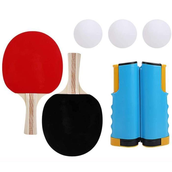 Filet de ping-pong portable et rétractable avec pince à clip - 1 filet de tennis de table, 3 balles de ping-pong, 1 paire de raquett