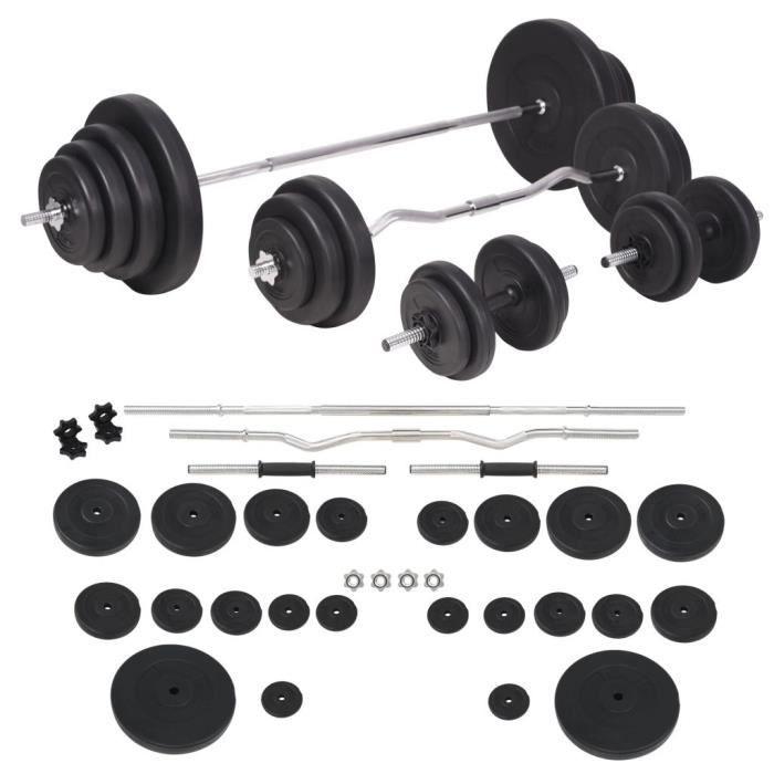 Ensemble d'haltères-Barre de Musculation, Barre d'Haltères et barre-Barres Courtes, Disque d'haltèress d'haltères 120 kg