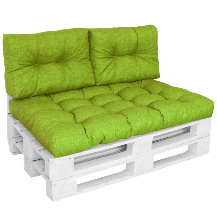 Proheim Coussins CONFORT pour canapé euro palette - 1x Assise 120x80 + 2x Dossiers 60x40 cm - Vert