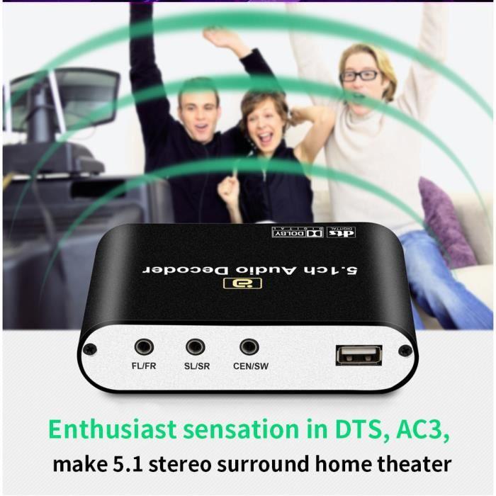 Décodeur audio numérique 5.1 Dolby DTS / AC3 Convertisseur audio Gear LPCM à 5.1 Adaptateur audio audio analogique Convertisseur