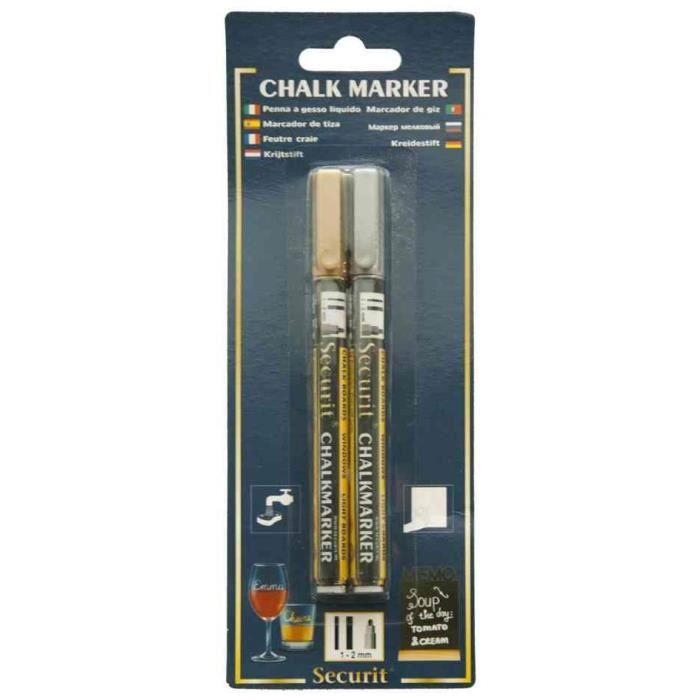 Lot de 2 Marqueurs Craie Liquide ORIGINAL SMALL Ogive 1 - 2 mm Or et Argent