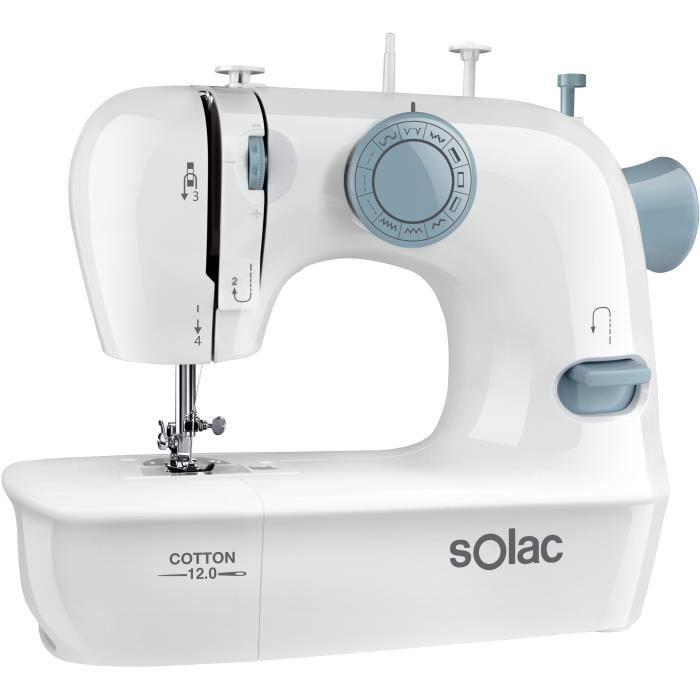 SOLAC Machine à coudre SW8220 - COTTON 12 - 7,2W - 2 vitesses - Eclairage lumineux de la zone de travail