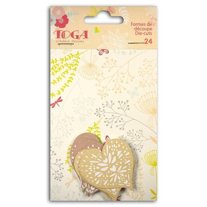 TOGA Pack de 24 Formes découpées Cœurs - Vert, taupe et beige