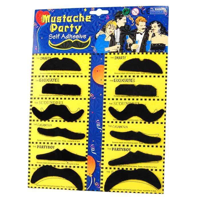 TRIXES Set 12 fausses moustaches auto-adhésives assorties pour soirées costumées