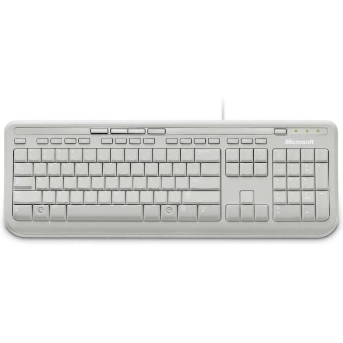 Microsoft clavier wired keyboard 600 blanc prix pas cher for Raccourci clavier agrandir fenetre windows 7
