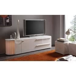 Meuble tv hifi blanc ou gris fonc laqu avec bar int gr for Meuble tv hifi integre