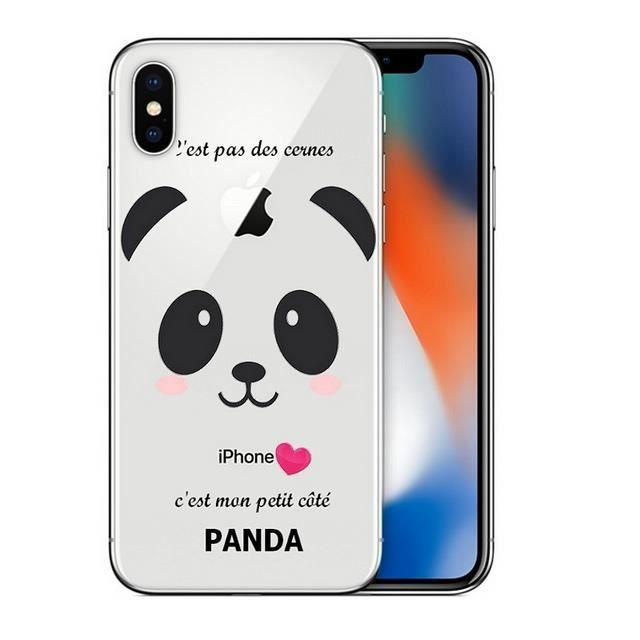 coque iphone xr panda coeur rose cute kawaii trans