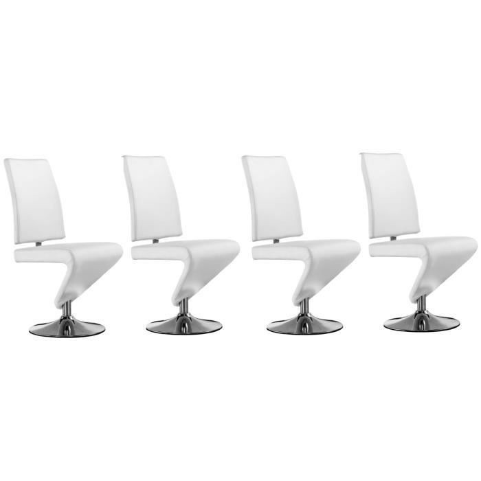 Lot de 4 chaises design cuir blanc run achat vente for Chaise salon design