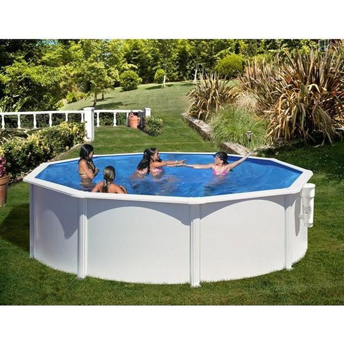 kit piscine hors sol azores ronde en acier couleur blanche 4 60 x h 1 32 m achat vente. Black Bedroom Furniture Sets. Home Design Ideas