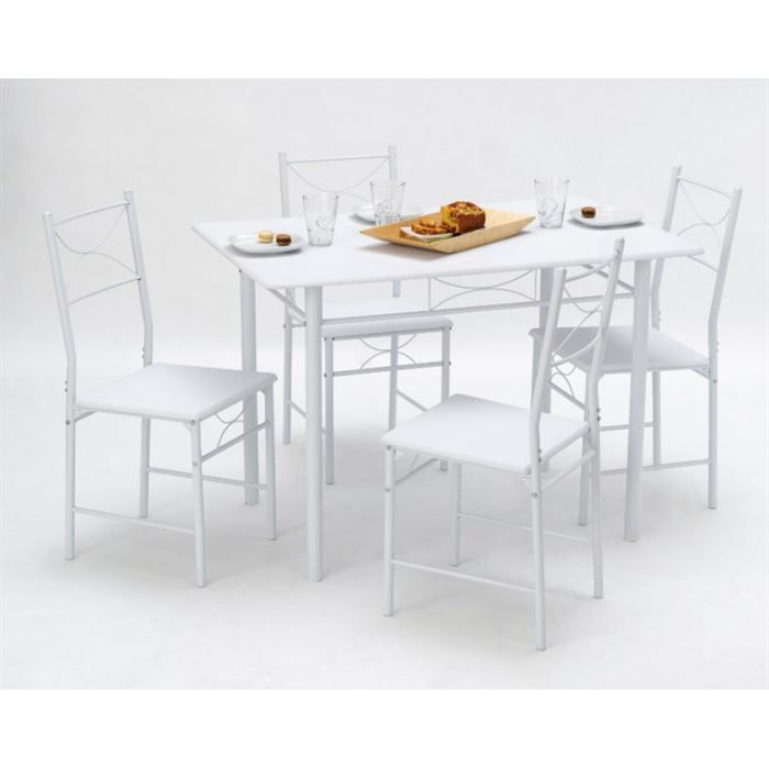 set whitney 1 table 4 chaises achat vente table a manger complet whitney 1 table 4. Black Bedroom Furniture Sets. Home Design Ideas
