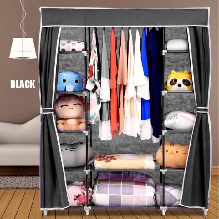armoire rangement v tement portable stockage placard organisateur v tements garde robe tag res. Black Bedroom Furniture Sets. Home Design Ideas