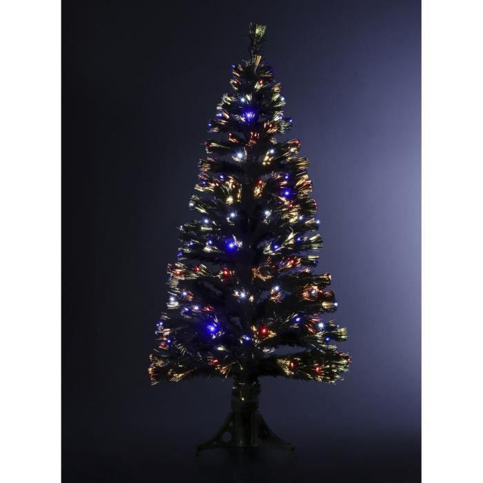 Sapin De Noël Artificiel Fibre Optique Noir 120 Cm
