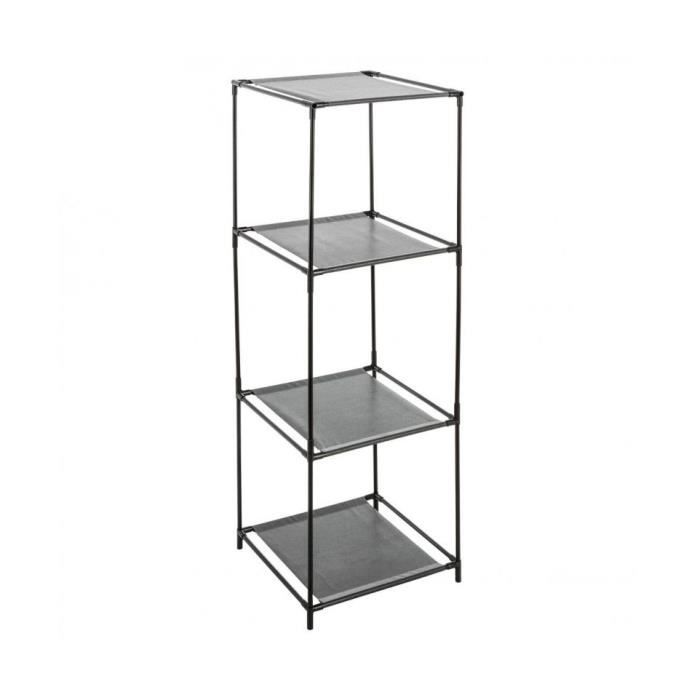 etagere 3 cases metal et tissu noir achat vente tiroir coulissant etagere cases metal tissu. Black Bedroom Furniture Sets. Home Design Ideas