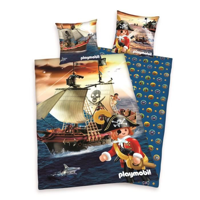 parure de couette enfant playmobil pirates 100 coton 1 housse de couette 140x200cm 1 taie. Black Bedroom Furniture Sets. Home Design Ideas