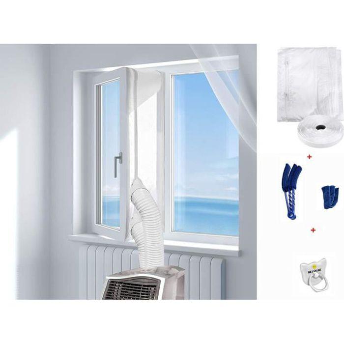 KLARSTEIN kit disolation de fen/être pour climatiseurs Mobiles : Longueur : 3,9 m Bande Velcro Fermeture /à glissi/ère Blanc