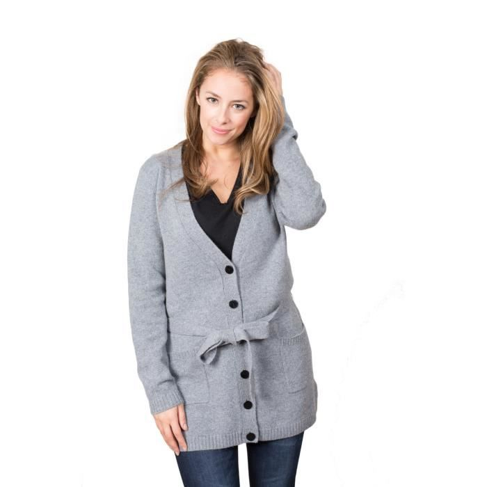 gilet cachemire femme elysee gris noir achat vente gilet cardigan cdiscount. Black Bedroom Furniture Sets. Home Design Ideas