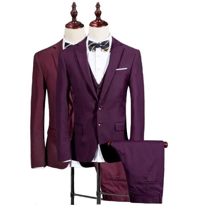 costume homme 3 pieces mariage tenue de soir e f te blazer veste homme violet achat vente. Black Bedroom Furniture Sets. Home Design Ideas