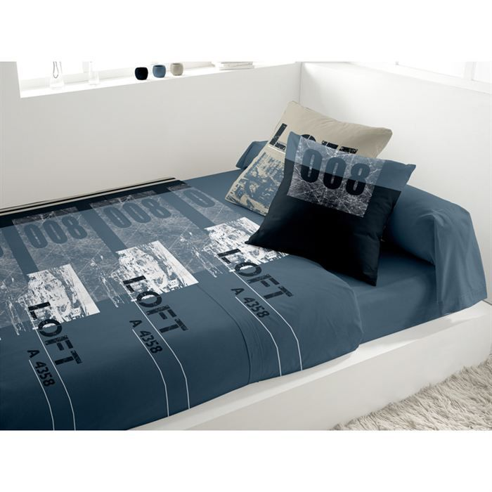 parure de lit huit cent bleu achat vente parure de drap cdiscount. Black Bedroom Furniture Sets. Home Design Ideas