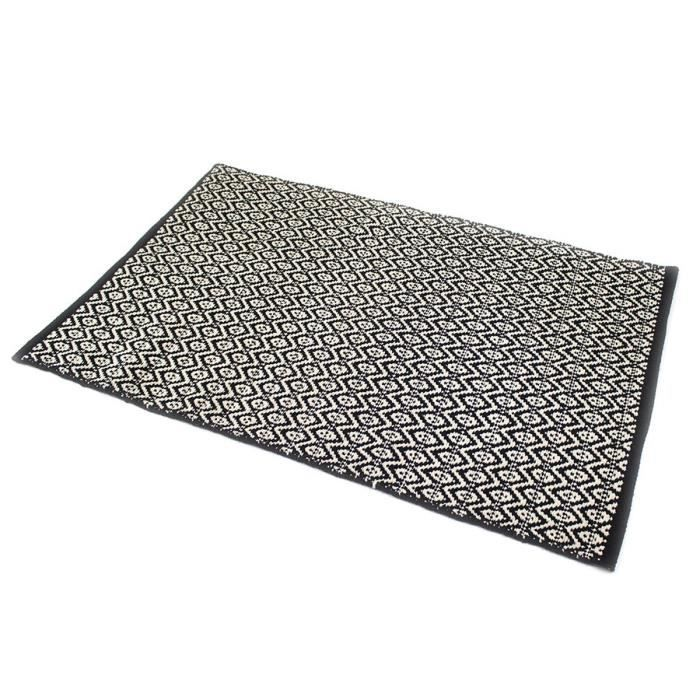 zig zag tapis 100 coton 90x150 cm noir et beige achat vente tapis 100 coton cdiscount. Black Bedroom Furniture Sets. Home Design Ideas