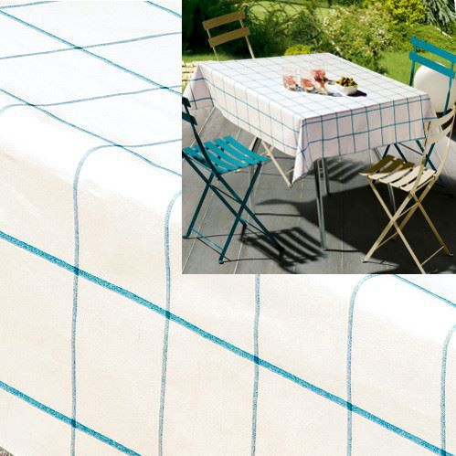 nappe rectangulaire coton enduit blanc turquoise patio 170 x 250 cm achat vente nappe de. Black Bedroom Furniture Sets. Home Design Ideas