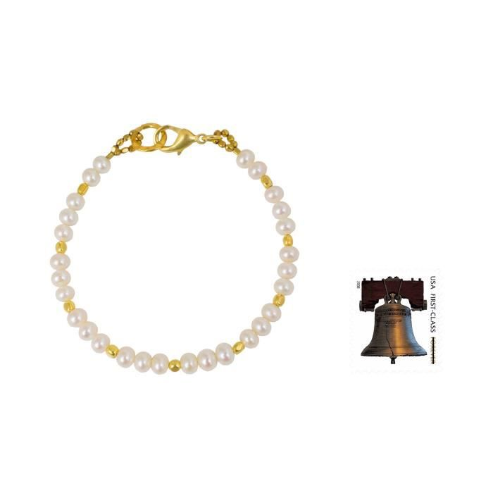 Womens White Cultured Freshwater Pearl Bracelet With 24k Yellow Gold Plated Brass siam Moons SI5J3
