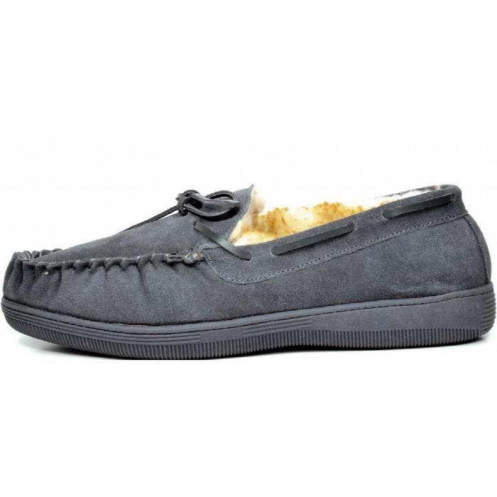 Fur-mocassin-01 Suede Chaussons Mocassins J2VXC Taille-48 RmF9L