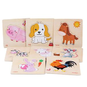 PUZZLE Bébé 8Pcs Animal Puzzle en bois éducatif développe