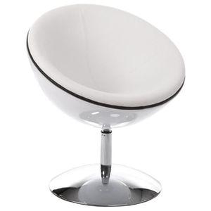 FAUTEUIL Fauteuil demi boule rotatif coque blanc skaï blanc