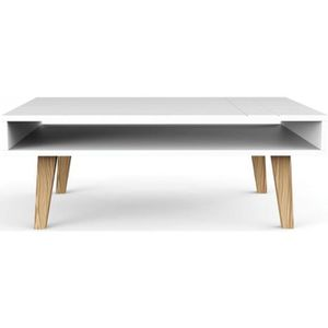 table basse scandinave blanche double plateau achat vente table basse table basse scandinave. Black Bedroom Furniture Sets. Home Design Ideas