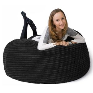 lounge pug canap pouf g ant 39 mammouth 39 c tel noir achat vente pouf poire cdiscount. Black Bedroom Furniture Sets. Home Design Ideas
