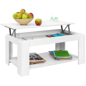 TABLE BASSE Table basse plateau relevable style contemporain -