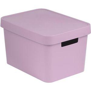 PANIER A LINGE Boîte de Rangement avec Couvercle Plastique Rose 1
