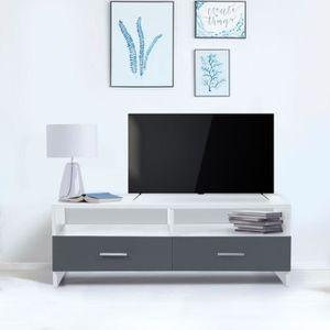 MEUBLE TV Meuble TV FALKO bois blanc et gris
