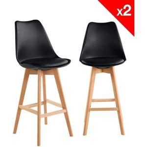 TABOURET DE BAR KAYELLES Lot de 2 chaises de Bar Scandinaves avec