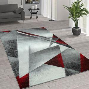 TAPIS Tapis Moderne Motif Géométrique Gris Rouge [60x100