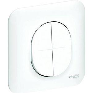 Bouton va-et-vient pour lampe lumi/ère Interrupteur double encastrable design en verre avec applique murale Navaris Interrupteur va-et-vient