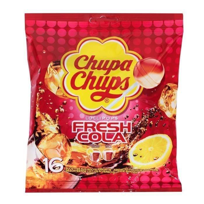 CHUPA CHUPS Sucettes Lollipops Fresh Cola, goûts assortis - 192 g