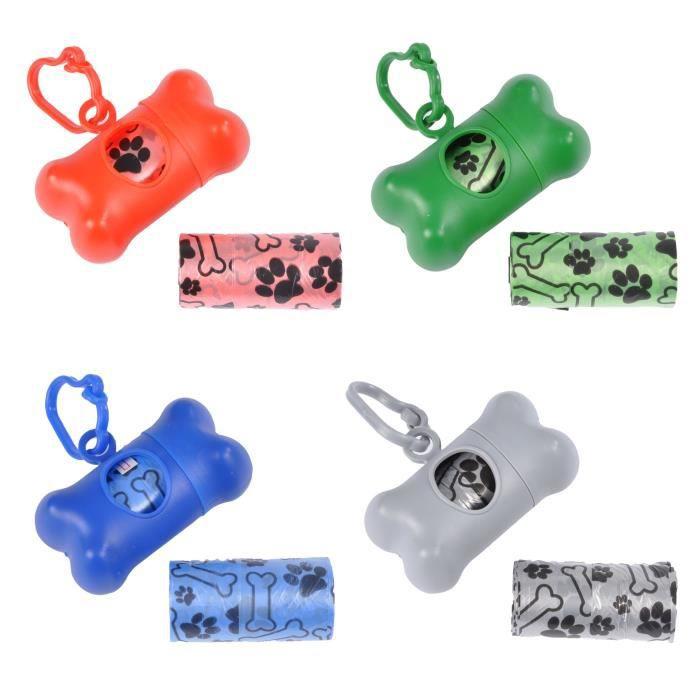 Distributeur de sachets ramasse crottes - 20 sacs - 1 recharge - 4couleurs assorties : Rouge / Gris / Bleu / Vert