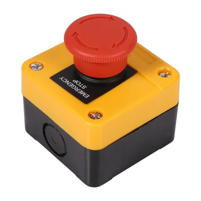 Interrupteur d'arrêt d'urgence 660V 10A en Plastique Coquille Rouge Signe Champignon Bouton-Poussoir Interrupteur Nouveau-AIM