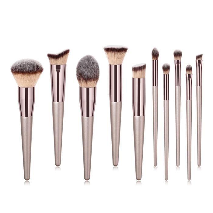 10 pièces / ensemble de pinceaux de maquillage Champagne pour fond de teint cosmétique poudre fard à paupières kabuki mélange