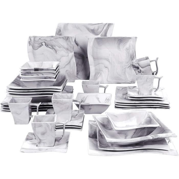 30+6CB-GREY-FR New MALACASA Série Flora, 36 Pcs Service de Table Porcelaine Marbre,Services Complets à Dinner