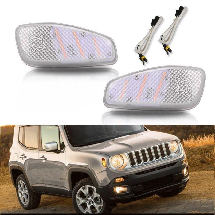 Kit de feux de position latéraux LED jaune ambre à lentille claire pour Jeep Renegade 2015-2017